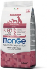 Monge Dog Monoprotein All Breeds Beef and Rice сухой корм для собак всех пород говядина, рис 12 кг
